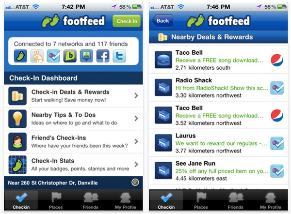 footfeed iphone Footfeed para iPhone: hacer check in en varios servicios a la vez