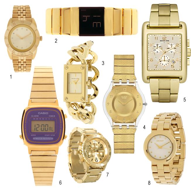 Reloj dorado mujer chile