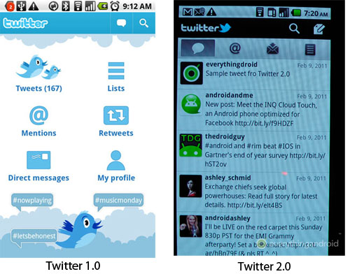 Twitter Primer vistazo a Twitter 2.0 para Android