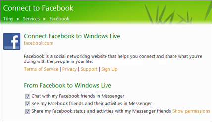 windows live messenger facebook connect Windows Live Messenger es la segunda aplicación más usada en Facebook