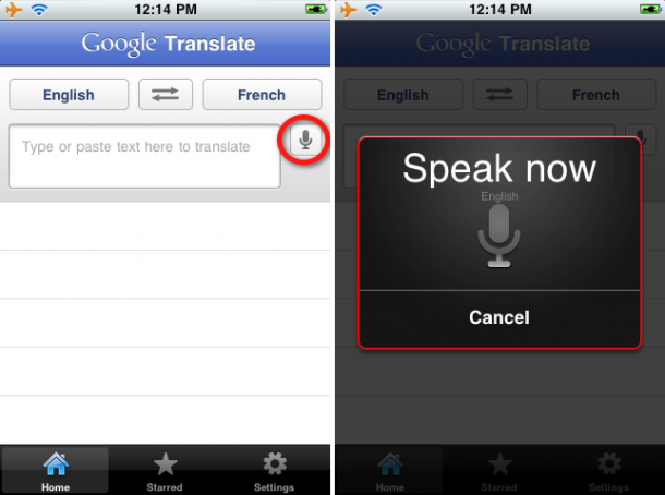 Google Translate app para iPhone