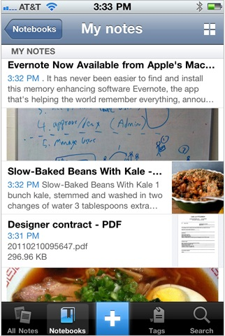 iphone notes Evernote 4 para iPhone con rediseño completo
