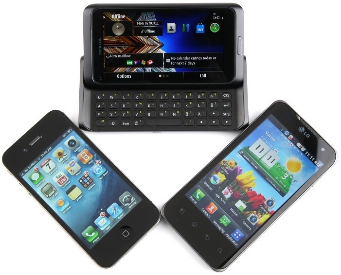 Nokia E7 vs LG Optimus 2X vs iPhone4 Nokia E7 vs iPhone 4 vs LG Optimus 2X