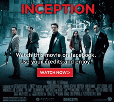 inception 400x360 Warner Bros agrega 4 películas más para rentar en Facebook