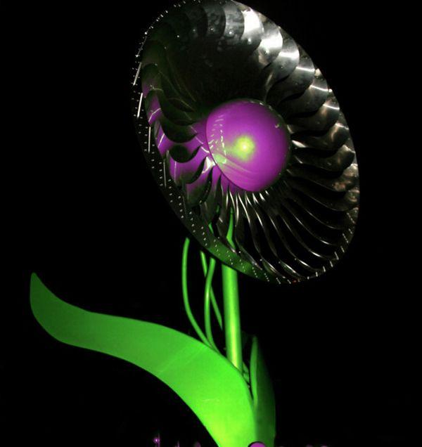 power flower aprovechando la energía eólica con una flor hermosa