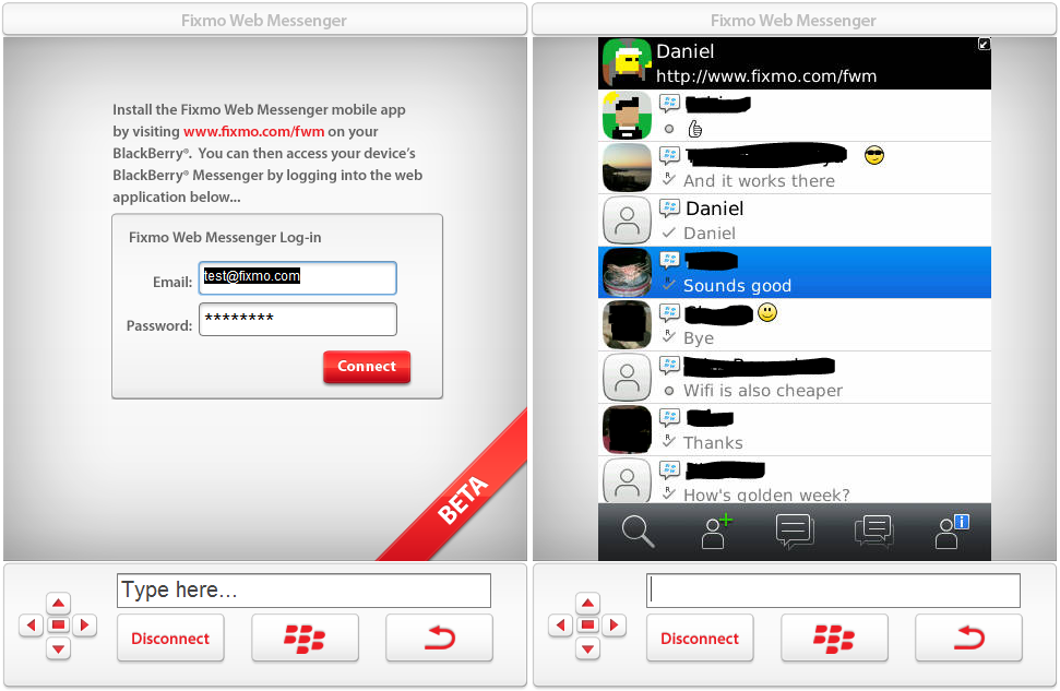BlackBerry Messenger computadora BlackBerry Messenger en la PC con Fixmo
