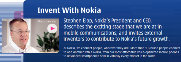 Invent With Nokia 610x210 Inventa con Nokia: para captar ideas de productos y servicios