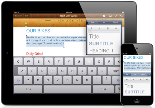 iWork Pages iWork para iPhone, iPad y iPod Touch