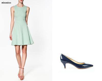 Zapatos para vestido verde agua corto