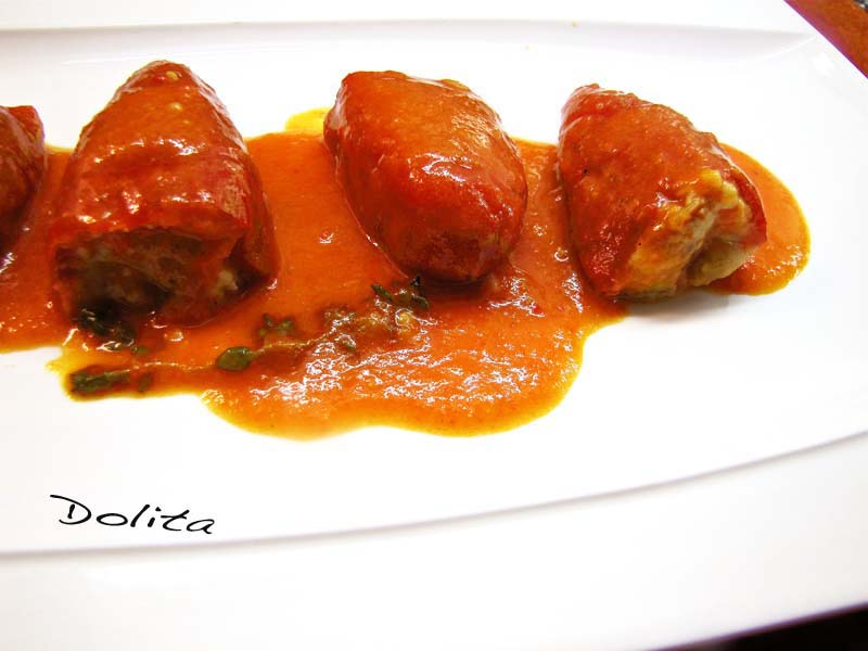 Pimientos del piquillo rellenos de carne con bechamel - Pimientos rellenos de carne picada y bechamel ...