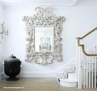 Espejo de pared decorativo en blanco - Espejos antiguos grandes ...