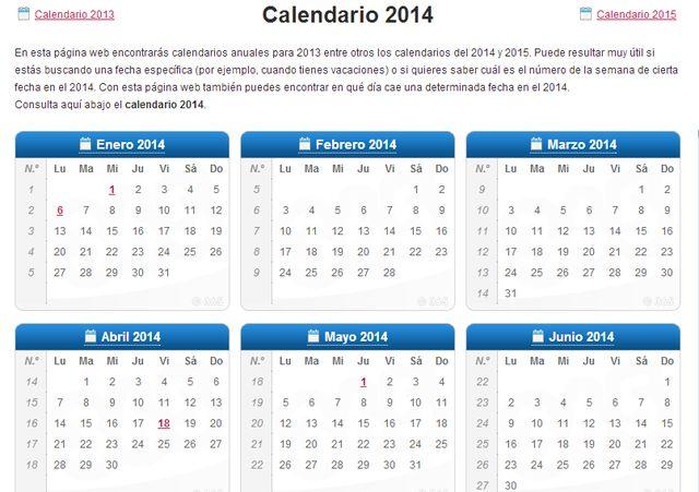 Un práctico Calendario 2014 para descargar e imprimir