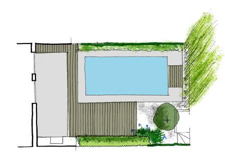 Jardin de dise o con piscina for Diseno jardin con piscina
