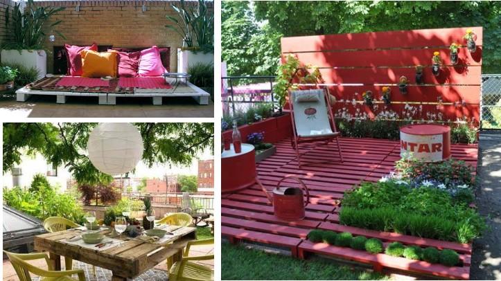 Crear muebles con palets reciclados for Muebles palets jardin exterior