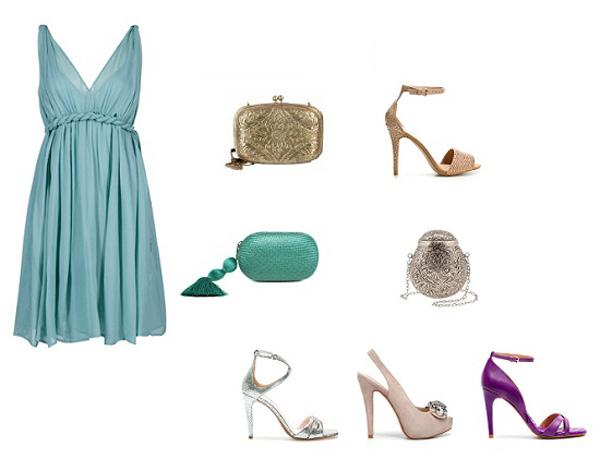 Bolso para vestido verde y zapatos dorados