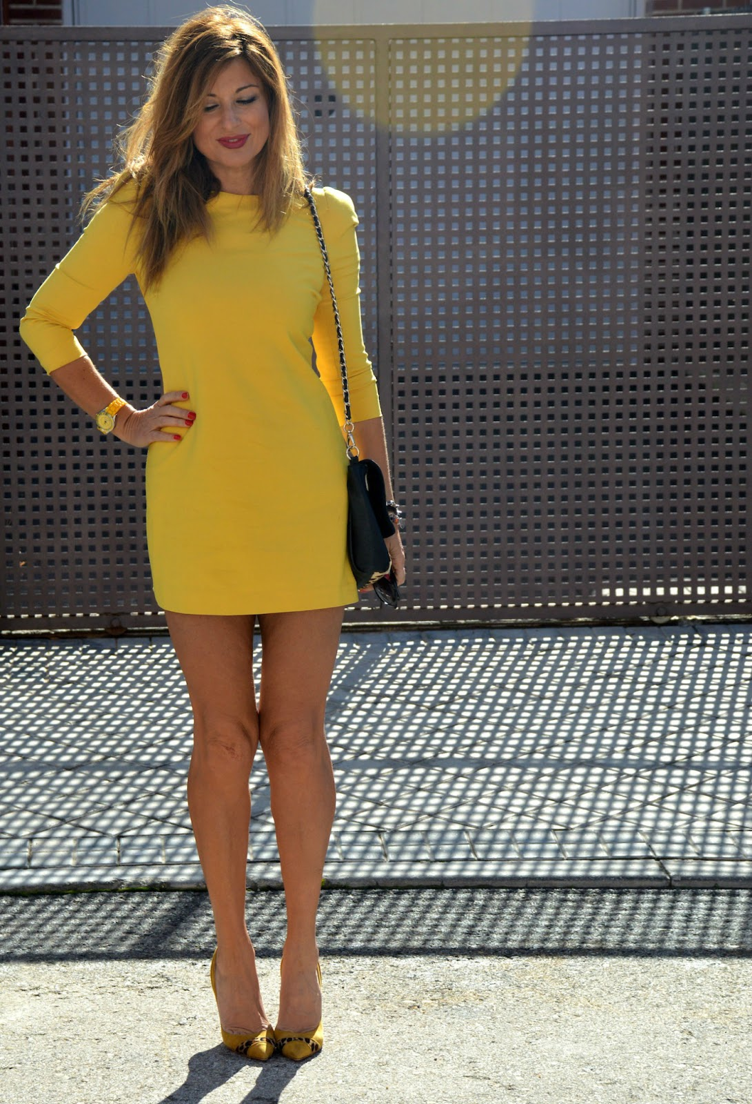 Color Vestido Mostaza Mostaza Larga Manga qVSUzpGM