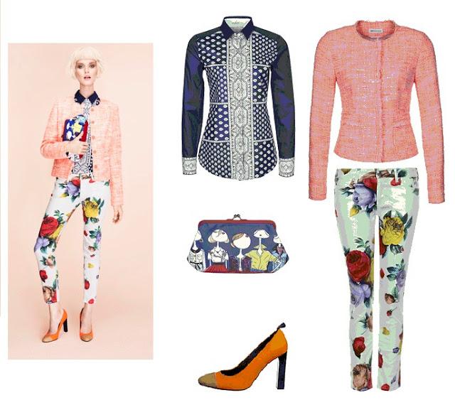 En Zalando puedes encontrar este look primaveral compuesto por Blusa de Van Laack, chaqueta de St. Emile Bouclé, pantalones florales de Love Moschino,