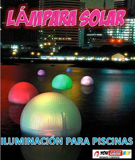 Lampara flotante para piscinas lampara solar con luz led for Luces led piscina