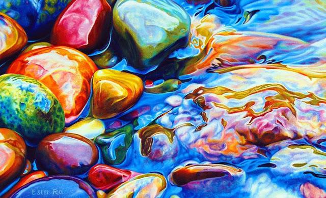 Piedras de color las pinturas realistas de ester roi for Pintura color piedra