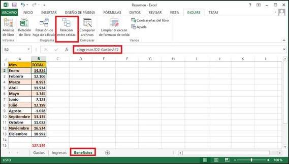 Inquire para Excel 2013: Relaciones entre celdas