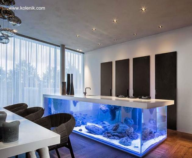 Modelo de cocina integral moderna con acuario for Modelos de islas de cocina modernas