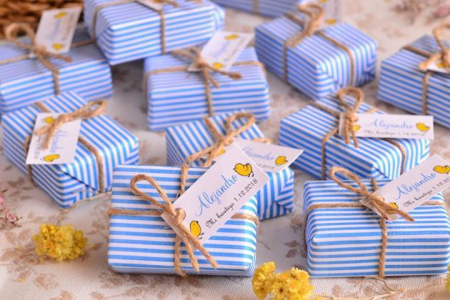 Jabones Artesanales Bautizo.Jabones Con Rayas Y Lunares Azules Detalles Para Bautizos
